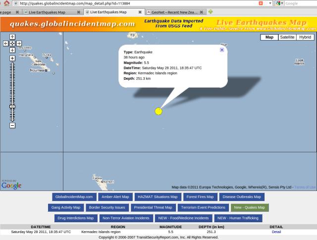 290511 Kermadec Islands magnitude 5.5 quake