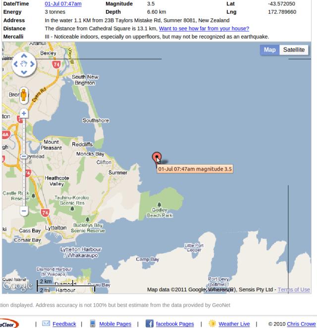 Sumner magnitude 3.5 - Crowe 010711 7:47am