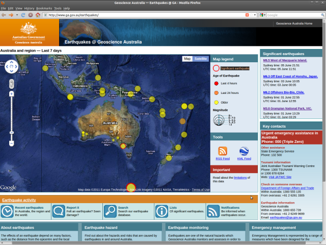 Earthquakes@Geoscience Australia - Macquarie Island 6.5 050611