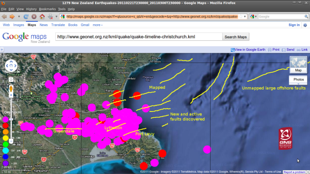 GNS quakes 220211-060311 on Pegasus Bay Google-map + possible new faults