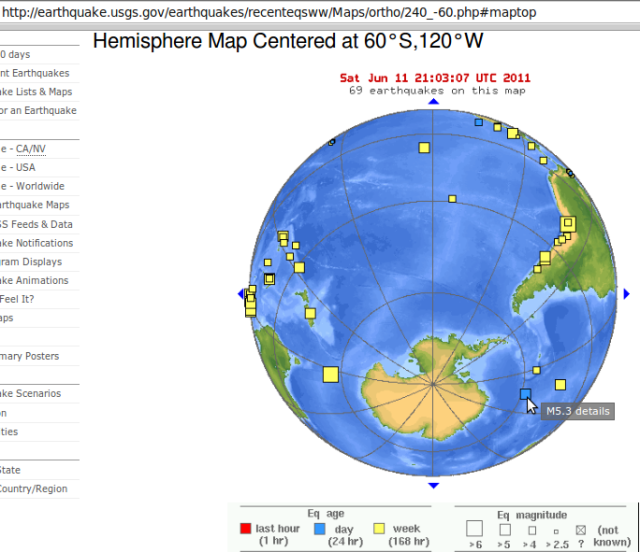 Sandwich Islands magnitude 5.3 earthquake shifting Earth fractures south - USGS 110611
