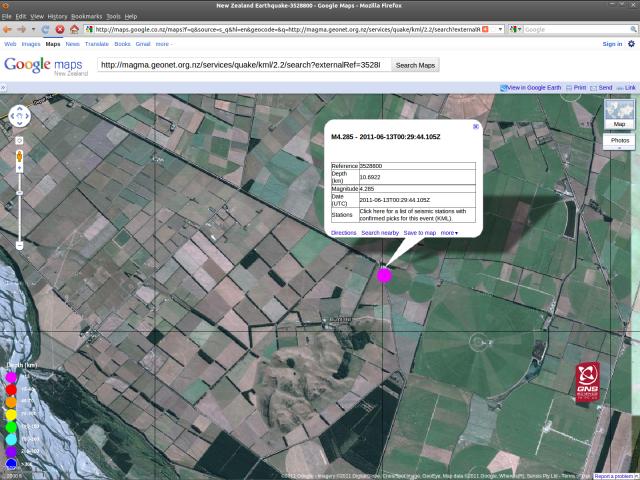 Burnt Hill mid-Canterbury magnitude 4.3 quake - GNS 12.30pm 130611