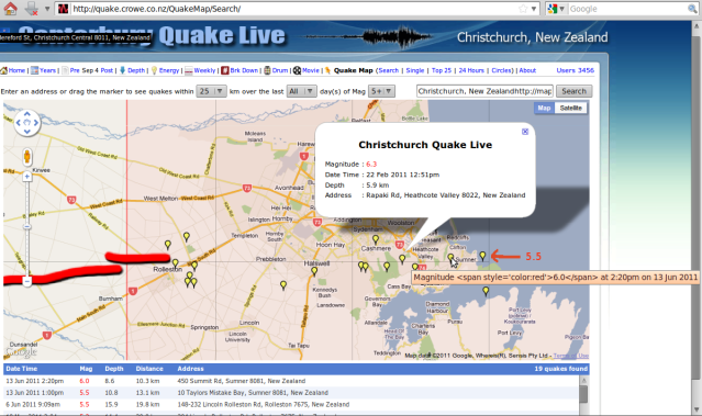 http://quake.crowe.co.nz/QuakeMap/Search/ magnitude 5 and up - Christchurch