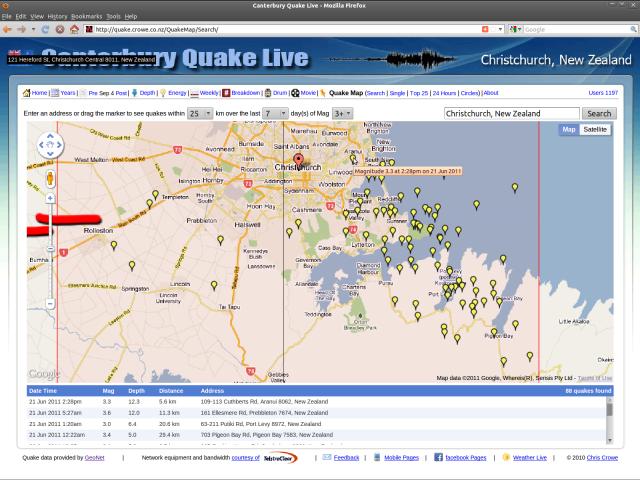 Greendale pressure points - 7 days, mag 3 up - quake.Crowe.co.nz 210611