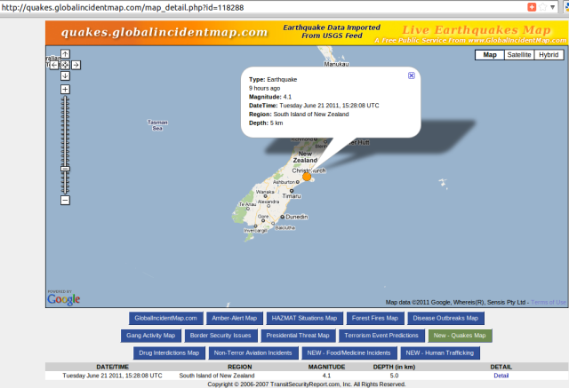 Christchurch magnitude 4.1 aftershock 3.28am NZST - GIM 210611 UTC