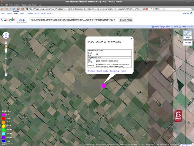 Lauriston magnitude 4.3 quake - GNS GoogleMap 210611