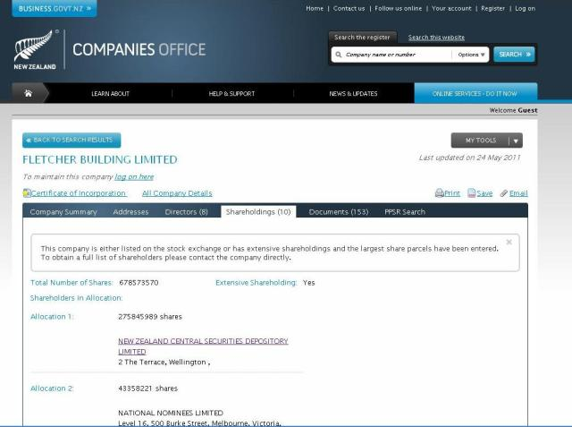 Companies search - Fletchers - NZ Government