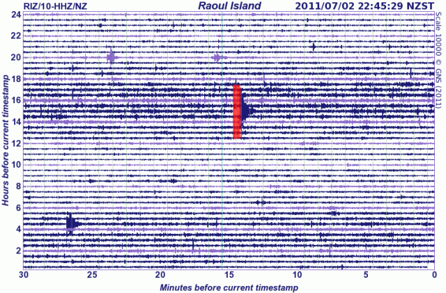 Raoul Island seismograph drum - GNS 020711