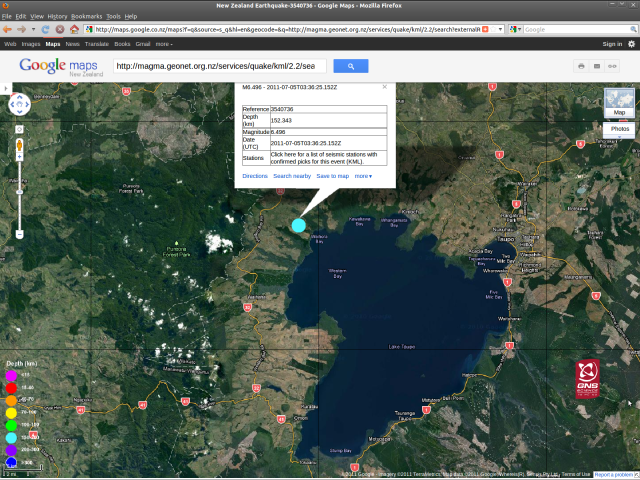 Taupo magnitude 6.5 quake - GNS Science GoogleMap 050711