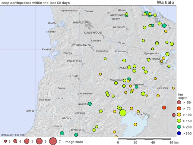 Deep quakes last 60 days - GNS Waikato 060711