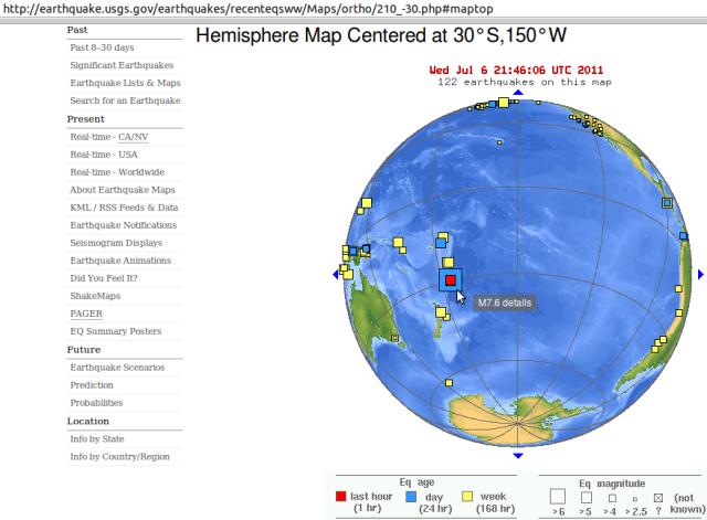 Kermadecs magnitude 7.6 quake - USGS 070711