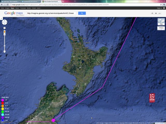 Waimairi Hikurangi magnitude 3.4 - GNS GoogleMap 090711