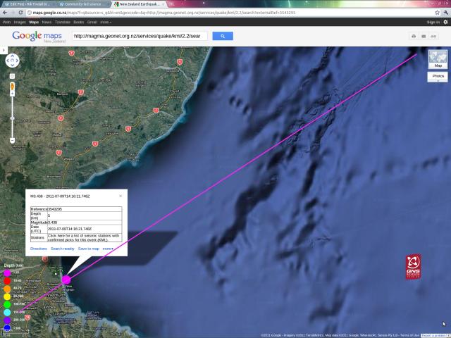 Waimairi magnitude 3.4 quake line - GNS GoogleMap 090711