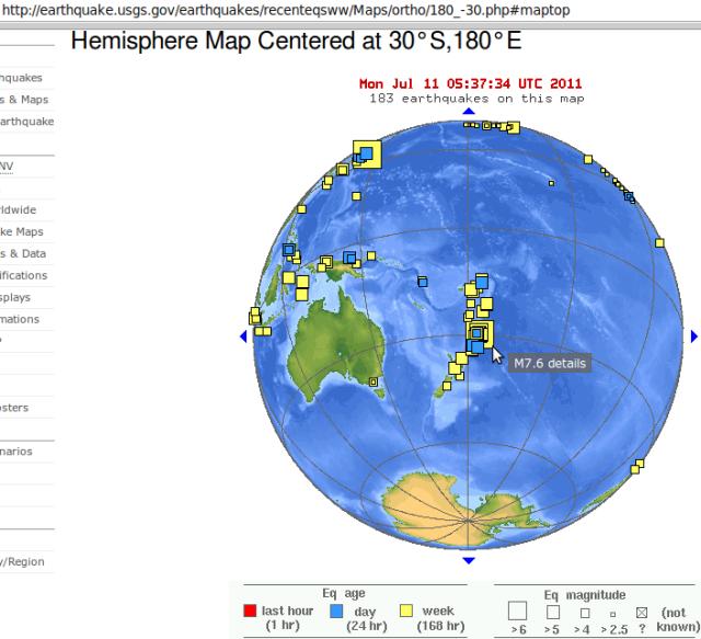 Kermadec magnitude 7.6 - USGS 100711