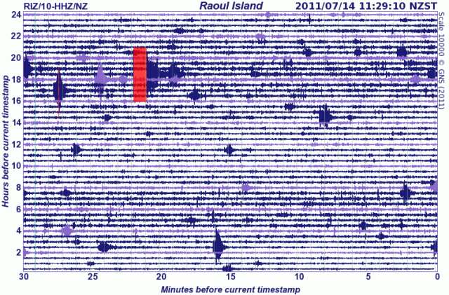 Raoul Island seismometer drum - GNS 140711