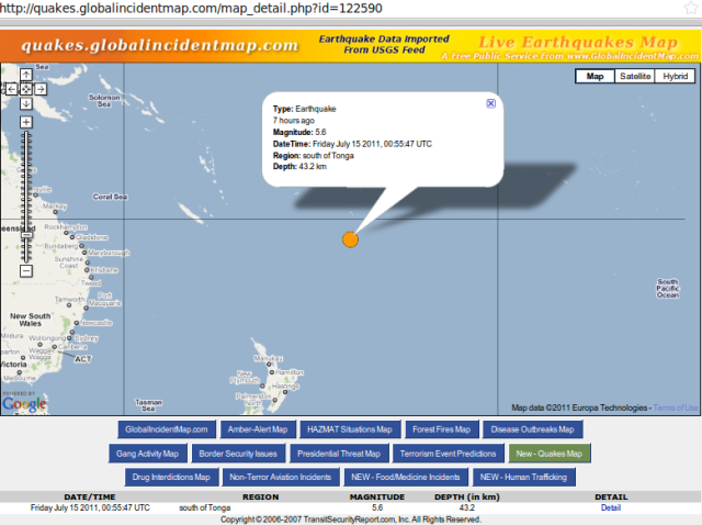 south of Tonga magnitude 5.6 quake - GIM 150711