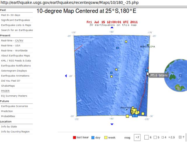 Kermedec quakes and south of Tonga magnitude 5.6 - USGS 150711