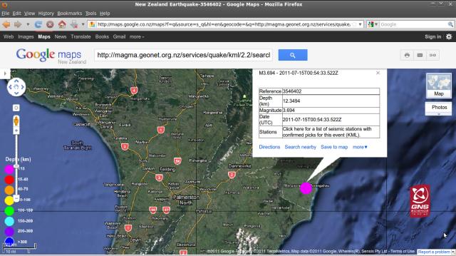 Porongahau magnitude 3.7 quake - GNS GoogleMap 150711a