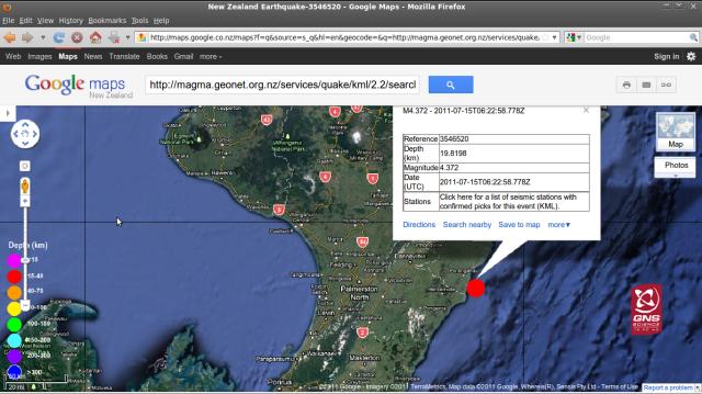 Porongahau magnitude 4.4 quake - GNS GoogleMap 150711b