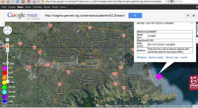Sumner magnitude 4.4 quake - GNS GoogleMap 160711