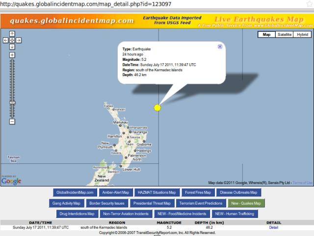 'South of Kermadecs' magnitude 5.2 quake - GIM 170711