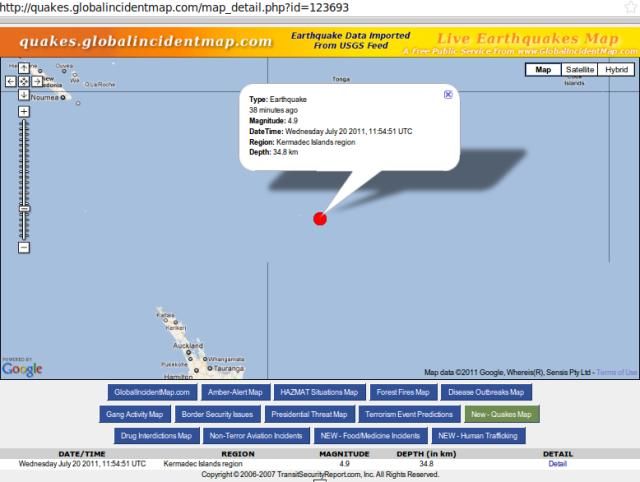 Kermadec magnitude 4.9 quake - GIM 200711