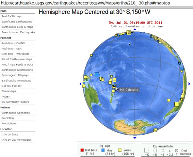 Kermadec magnitude 4.9 quake -  USGS 200711