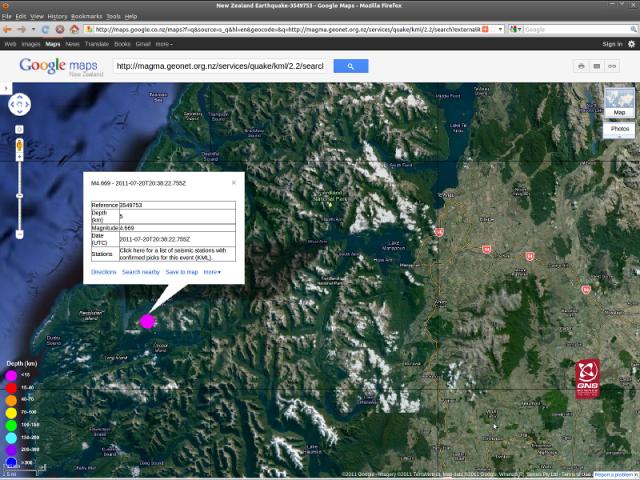 Te Anau magnitude 4.7 quake - GNS Googlemaps 210711a