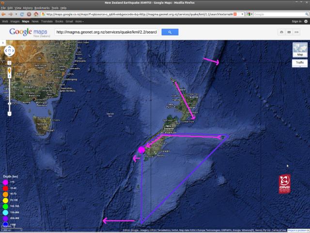 Te Anau magnitude 4.7 quake - GNS Googlemap 210711b