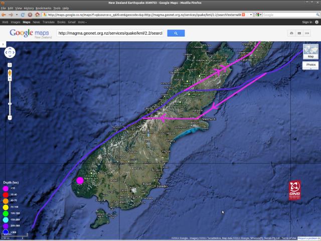 Te Anau magnitude 4.7 quake - GNS Googlemap 210711c-2