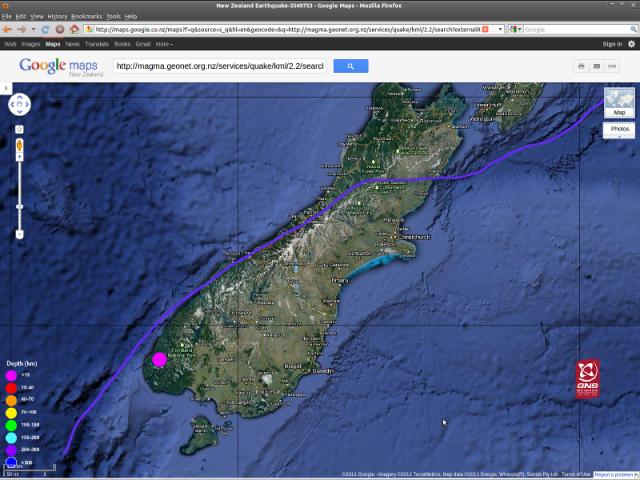 Te Anau magnitude 4.7 quake - GNS Googlemap 210711c