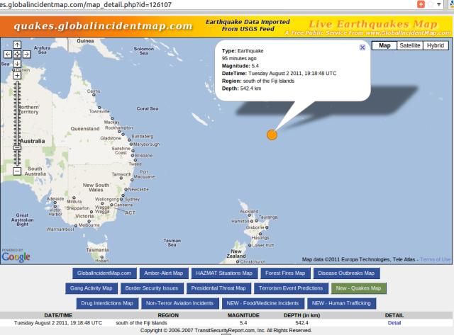 Tonga Trench ridge magnitude 5.4 quake - GIM 030811