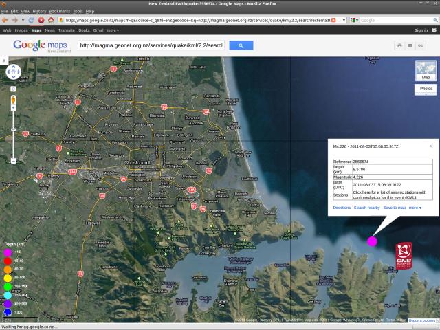 Port Levy magnitude 4.2 quake - GNS GoogleMap 030811