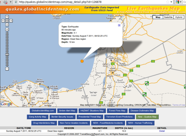 Levant magnitude 4.1 quake - Global Incident Map - 070811