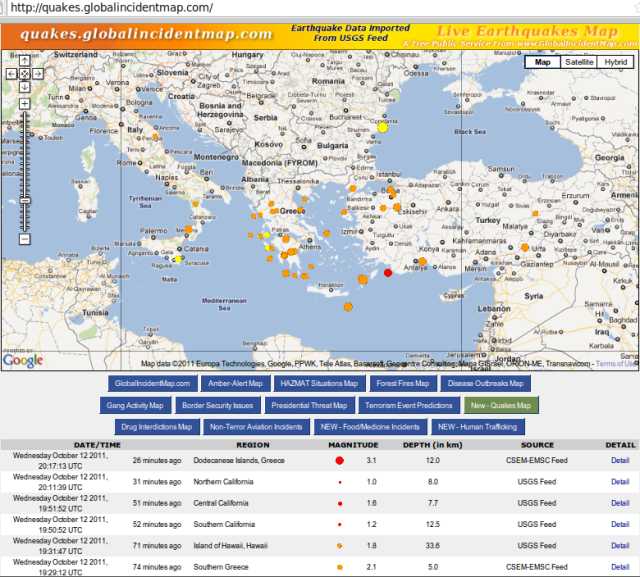 Greece and neighbouring quakes - GIM 131011 NZDT