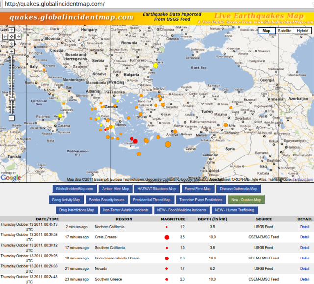 Greece quakes continue - GIM 131011c NZDT