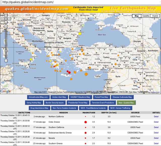 Greece quakes continue - GIM 131011c NZDT