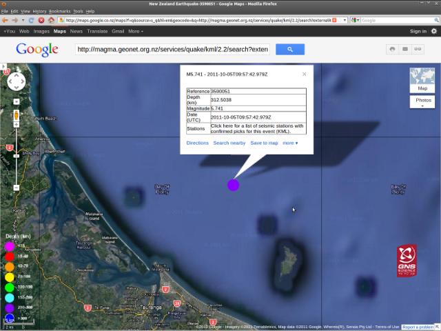 Tauranga magnitude 5.7 quake - GNS GoogleMap 051011