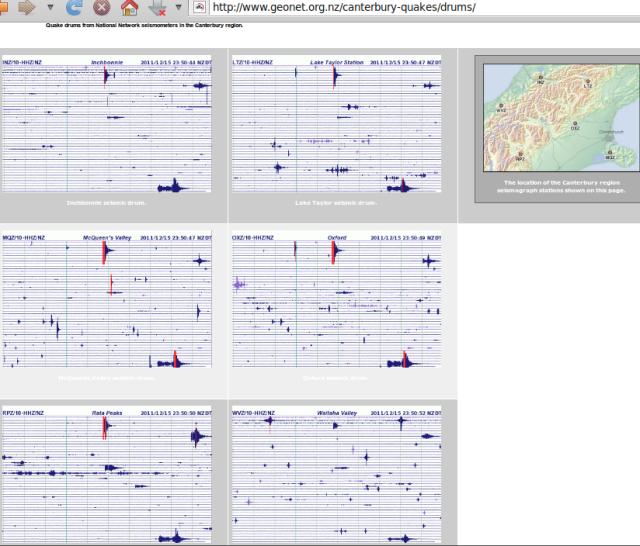 Kermadecs mag 6.3 quake, Canterbury seismograph drums - GNS 151211