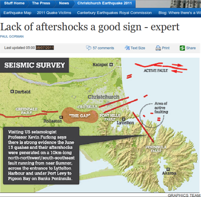 Christchurch faults - The Press 060711