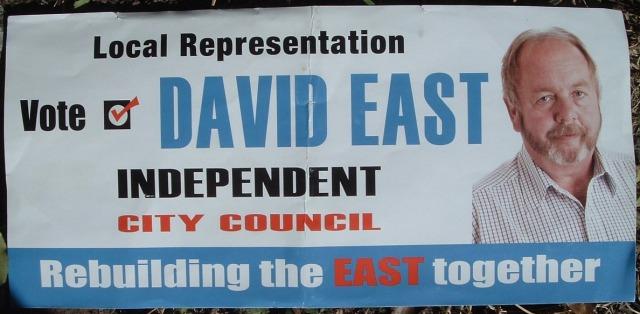 David East letterbox flier, Jan-Feb 2012, side A