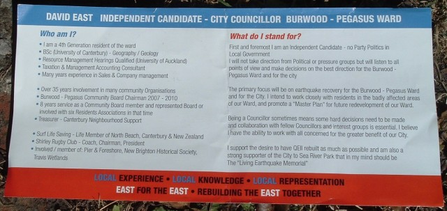 David East letterbox flier, Jan-Feb 2012, side B