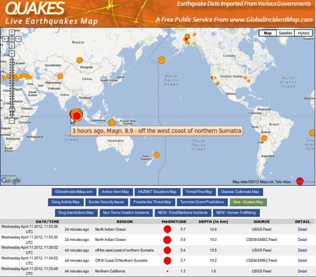 Offshore Sumatra magnitude 8.6 aftershock series - GIM 120412