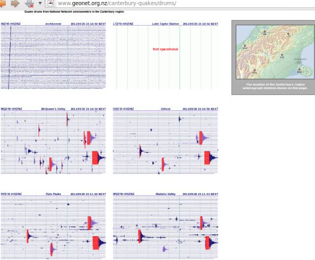 Christchurch magnitude 4.1, 4.8 quakes - GNS Canterbury seismograph drums 200512