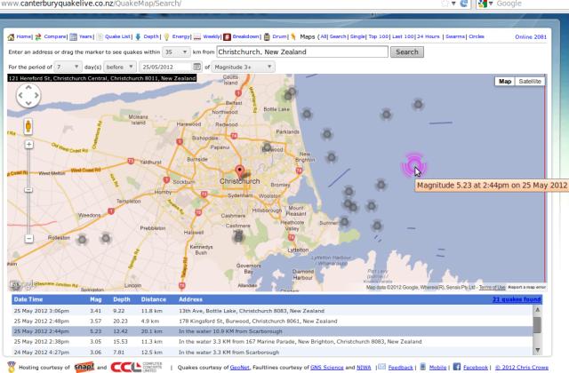 Pegasus Bay mag 5.2 quake + 7 days of 3 up - Crowe.co.nz 250512