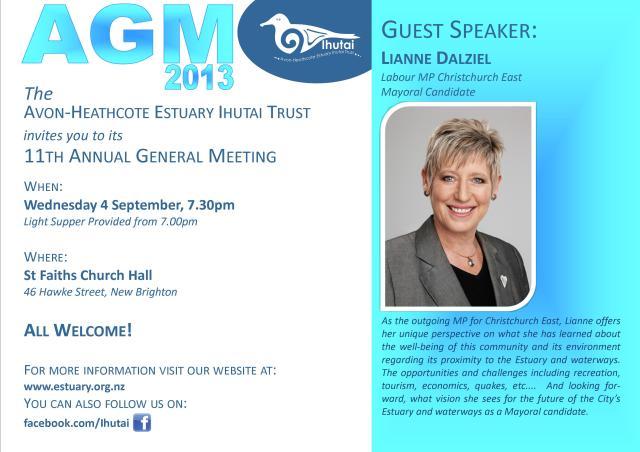 Avon-Heathcote Estuary Ihutai Trust - AGM 2013 Flyer
