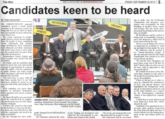 Mayoral candidates rally -The Star – 200913