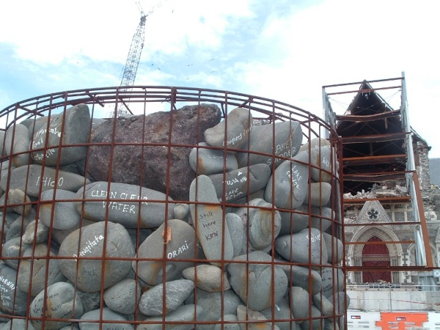 Christchurch Cathedral 2012 and Water Protest Cairn 2010