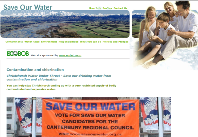Save Our Water website, 2008