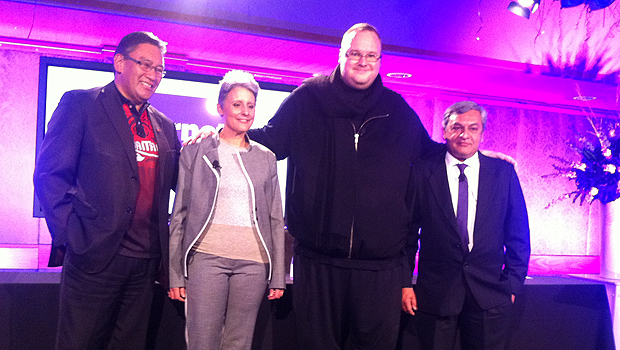 Hone Harawira, Laila Harre, Kim-Dotcom and Vikram Kumar at launch of Internet-MANA Party 2014